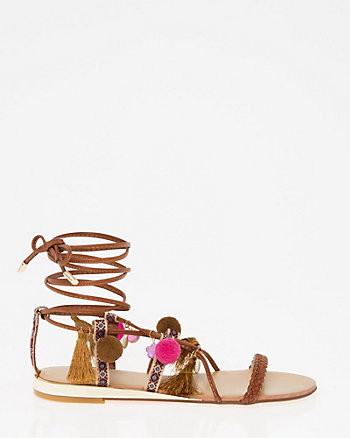 Printed Lace-Up Sandal