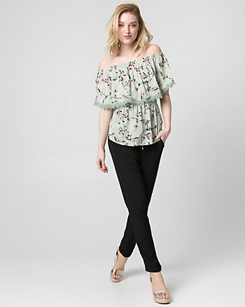 Floral Viscose Off-the-Shoulder Blouse