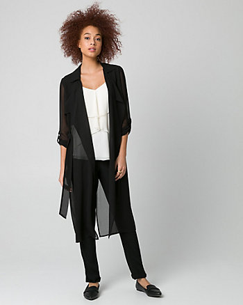 Chiffon Open-Front Duster Trench