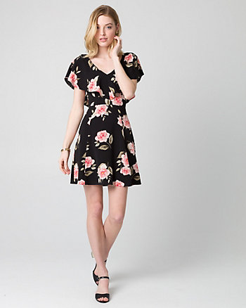 Floral Print Crêpe de Chine Ruffle Dress