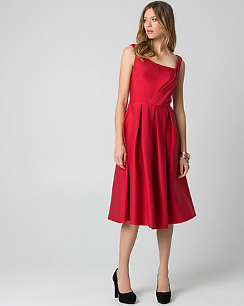 Double Weave Square Neck Cocktail Dress
