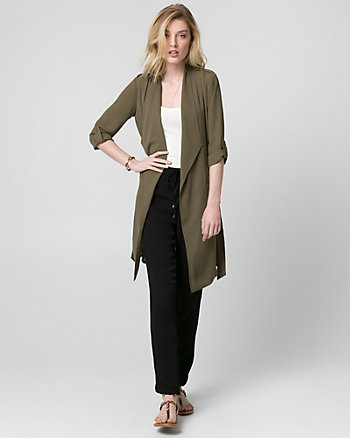 Crêpe de Chine Open-Front Trench