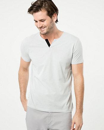 Cotton Split V-Neck Top