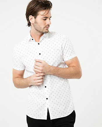 Anchor Print Cotton Slim Fit Shirt