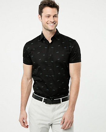 Shark Print Cotton Slim Fit Shirt