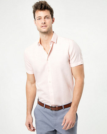 Stripe Linen Blend Athletic Fit Shirt