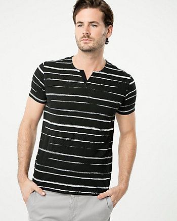 Stripe Cotton Split V-Neck Top