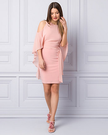 Knit & Chiffon Boat Neck Cape Dress
