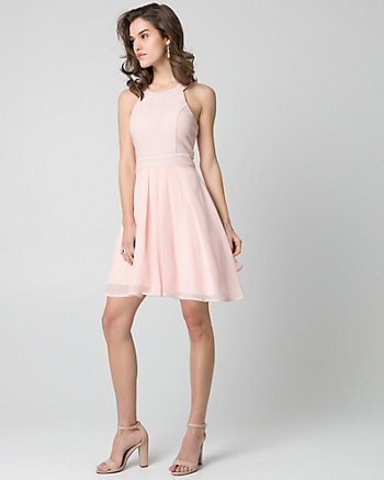 Sparkle Knit & Chiffon Halter Party Dress