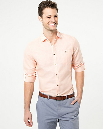 Linen Blend Athletic Fit Shirt