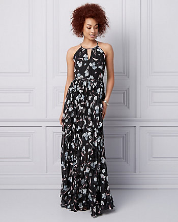 Floral Print Halter Ruffle Gown