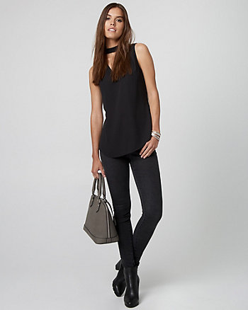 Crêpe de Chine Mock Neck Blouse