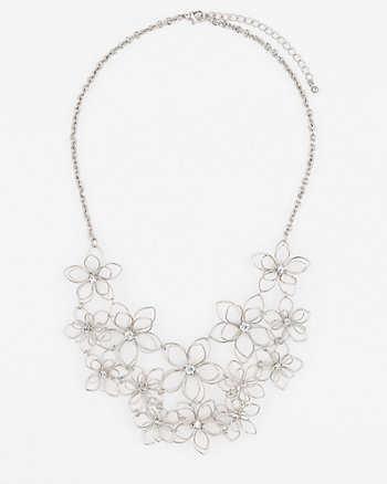 Gem & Floral Metal Collarbone Necklace