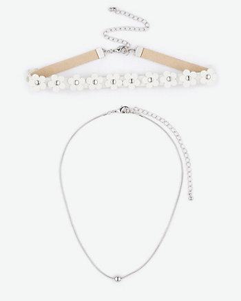 Floral & Chain Choker Necklaces