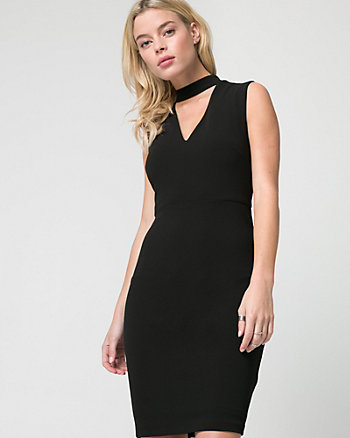 Knit Crêpe Mock Neck Dress