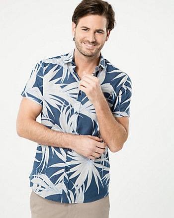 Tropical Print Cotton Slim Fit Shirt