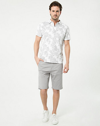 Floral Print Cotton Blend Polo Top