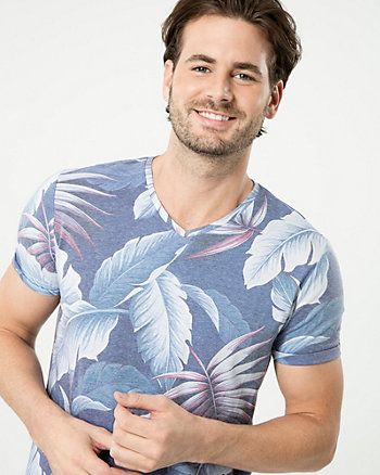 Tropical Print Cotton Blend V-Neck Tee