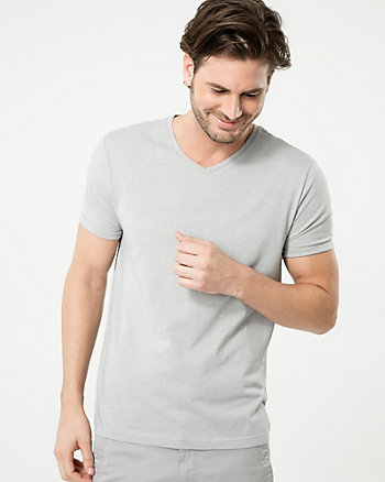Cotton Blend V-Neck Tee