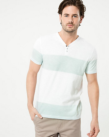 Stripe Cotton Slub Henley Top