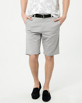Cotton Blend Chino Shorts with Belt