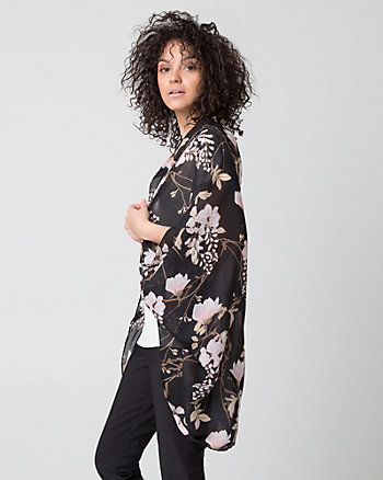 Floral Print Woven Poncho Scarf