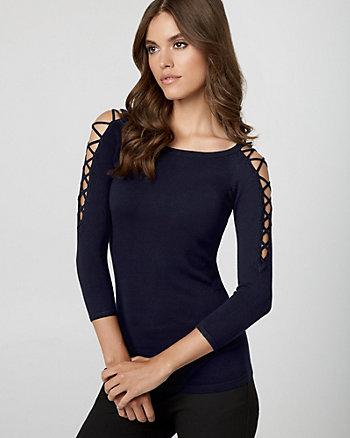 Viscose Blend Lace-Up Sweater