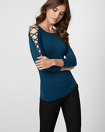 Viscose Blend Lace-Up Sweater