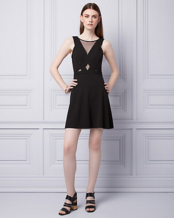 Knit Crêpe & Mesh Cutout Dress