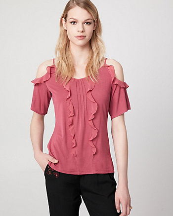 Jersey & Chiffon Cold Shoulder Ruffle Top