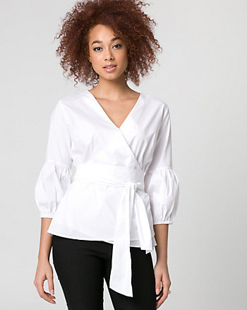 Stretch Poplin Wrap-Like Blouse