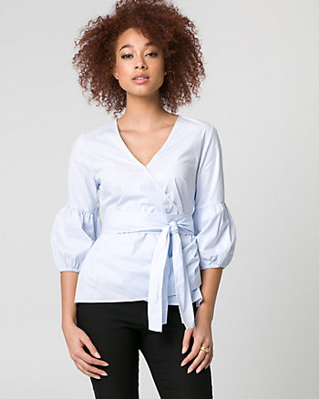 Stripe Stretch Poplin Wrap-Like Blouse