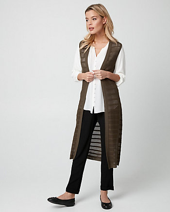 Textured Viscose Blend Duster Vest