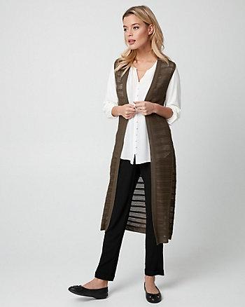 Textured Viscose Blend Duster Vest