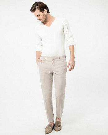 Pantalon à jambe droite en mélange de coton