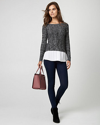 Knit & Woven 2-in-1 Sweater
