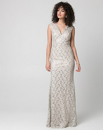 Sequin & Lace V-Neck Gown