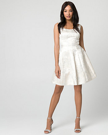 Jacquard Scoop Neck Party Dress