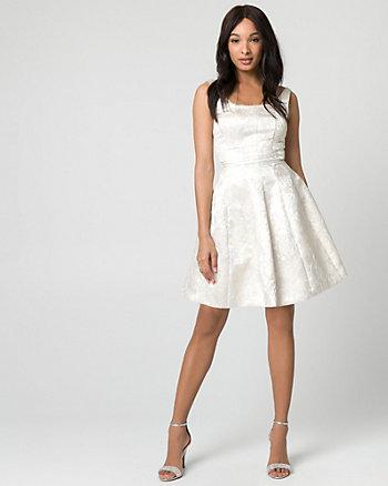 Jacquard Scoop Neck Party Dress
