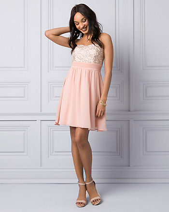 Embroidered Mesh & Chiffon Party Dress