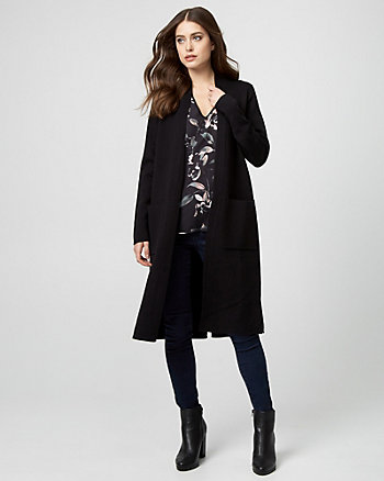 Brushed Viscose Open-Front Sweater Coat