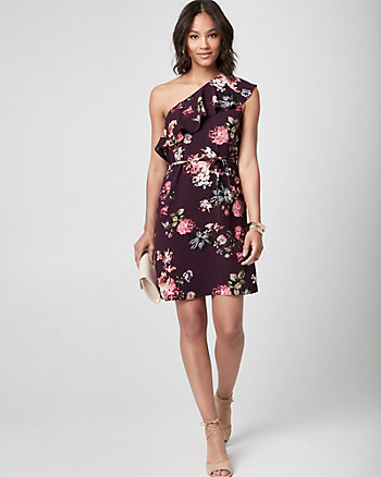Floral Crêpe de Chine One Shoulder Dress