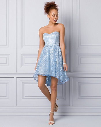 Embroidered Lace Strapless Party Dress