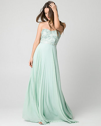 Embroidered Mesh Strapless Gown