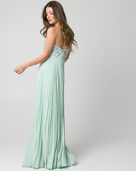 Embroidered Mesh Strapless Gown | LE CHÂTEAU