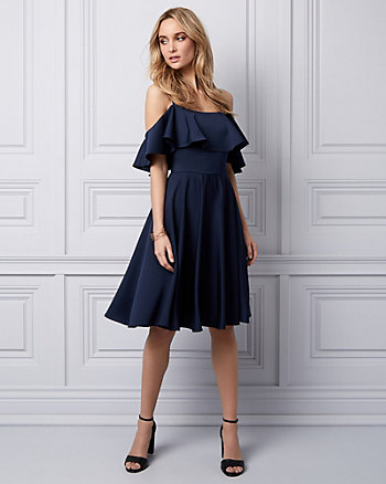 Crêpe de Chine Cold Shoulder Dress