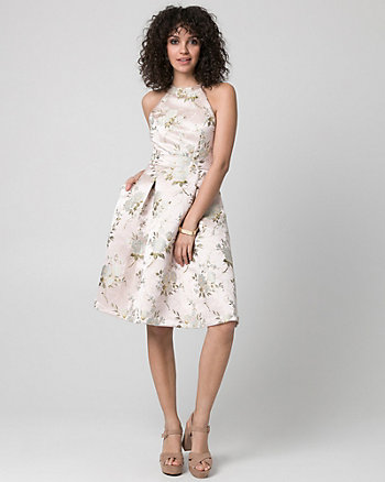 Embroidered Mesh Halter Cocktail Dress