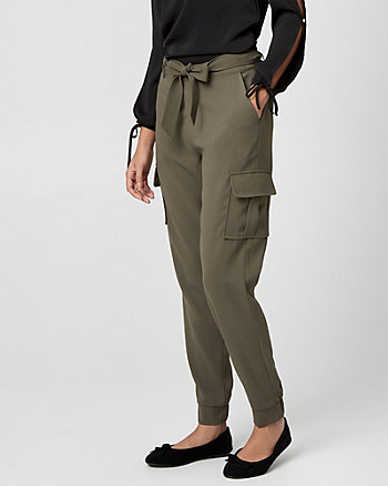 Belted Crêpe Slim Leg Pant