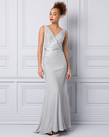 Bead Embellished Crêpe V-Neck Gown