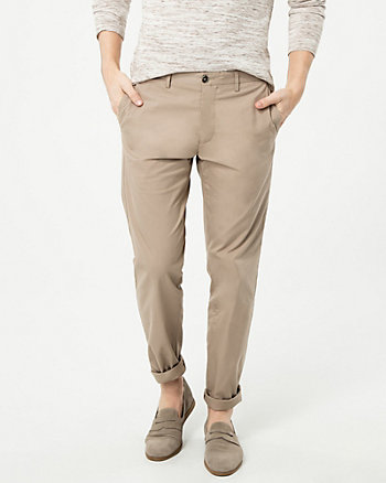 Cotton Blend Straight Leg Pant